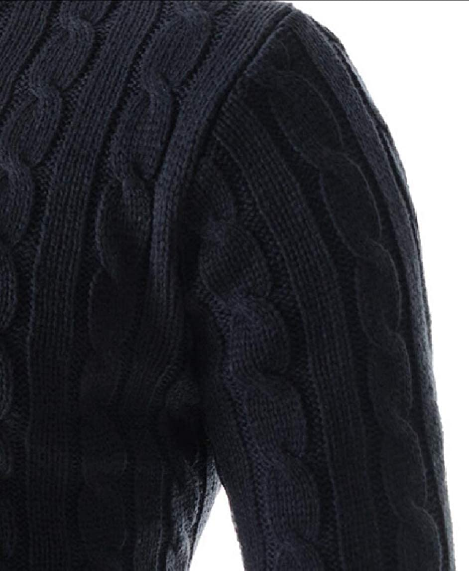 Yayu Mens V Neck Cable Pattern Ribbed Long Sleeves Pullover Knitted Sweater
