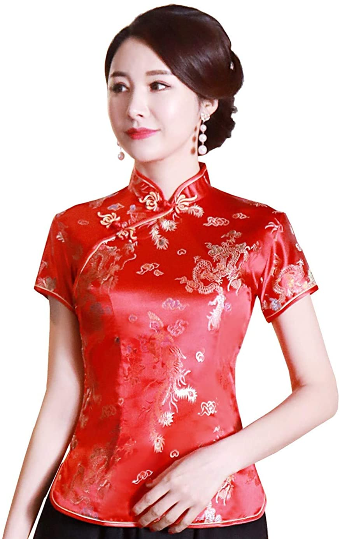 Shanghai Story Chinese Cheongsam Shirt Short Sleeve China Blouse For Women At Amazon Women S Clothing Store