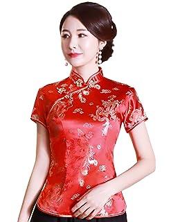 3ebaaa50d Shanghai Story Chinese Cheongsam Shirt Short Sleeve China Blouse for Women