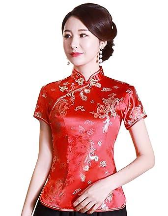 4f0b76f49a1 Shanghai Story Chinese Cheongsam Shirt Short Sleeve China Blouse for Women  2 R