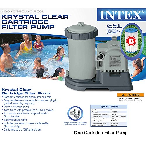 Intex Krystal Clear Cartridge Filter Pump For Above Ground