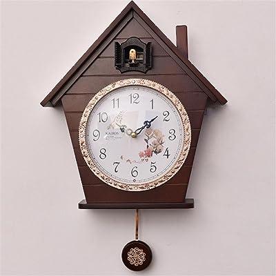 Amazon Com Bird Song Antique Wooden Pendulum Wall Clock
