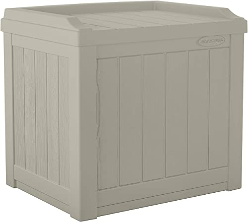 Suncast 22-Gallon Small Deck Box-Lightweight Resin Indoor Outdoor Storage Container and Seat Cushions and Gardening Tools Store Items on Patio, Garage, Yard, Light Taupe
