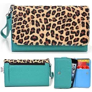 EXXIST® Metro Safari Series. Patent Leather Wallet / Clutch for BBK Vivo Y15 (Color: Leopard / Aqua Green) -ESMLMTT1