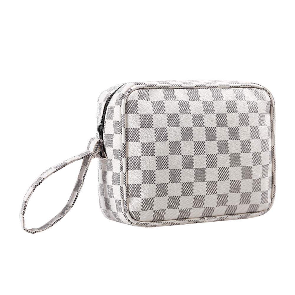 CIEN Portable Beige Checkered Pattern Make Up Bag PVC Leather Travel Toiletry Cosmetic bag