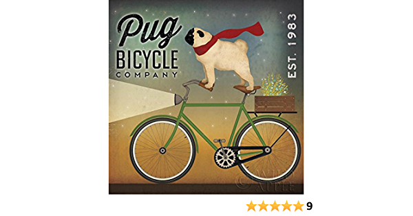 Amazon Com Picture Peddler Pug On A Bike By Ryan Fowler Vintage Ads Animals Dogs Pets Print Poster 24x24 Posters Prints