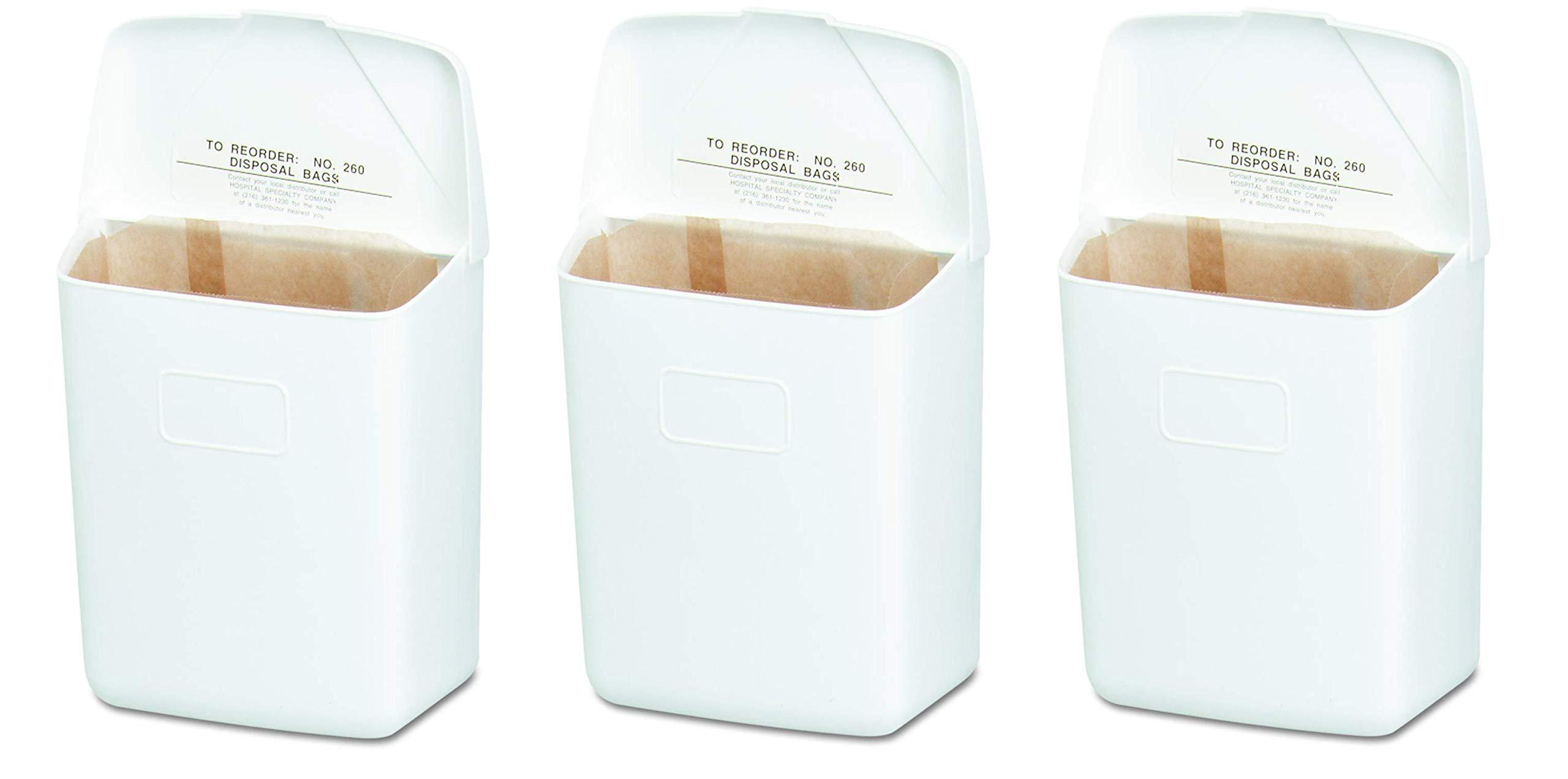 Hospeco Feminine Hygiene Receptacle, White ABS Plastic, 250-201W (Тhrее Pаck)