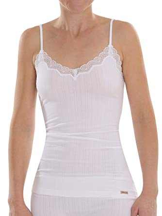 e874aca935ab3d Comazo Earth Damen Unterhemd mit Spaghettiträger Bio-Baumwolle/Elasthan,  Weiß, Gr.