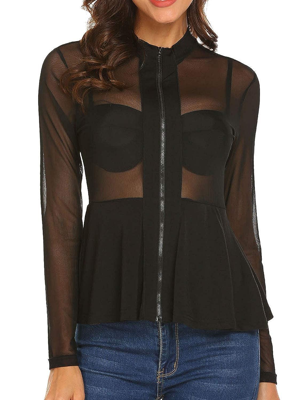 4c6c5012 Women's Sexy Slim Mesh Sheer See Through Clubwear Long Sleeve Stretchy  Peplum Shirt Blouse Tops at Amazon Women's Clothing store: