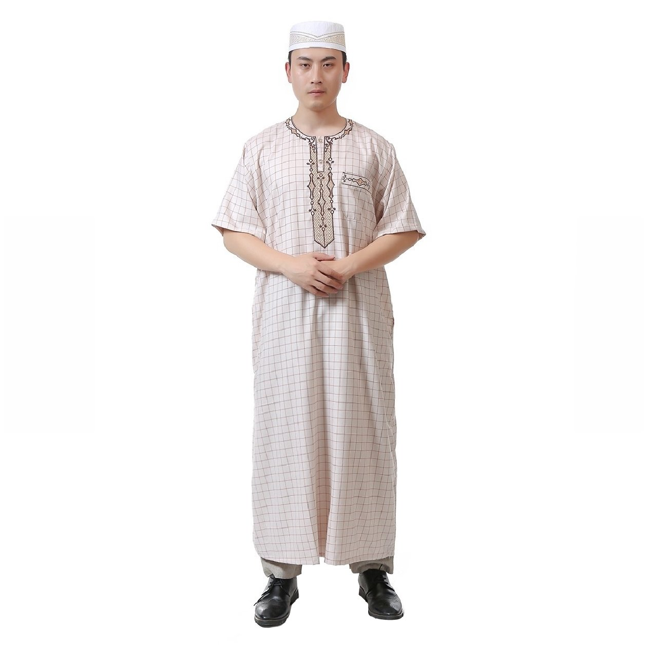 Zimaes Men Short-Sleeve Crew-Neck Plaid Middle East Arab Muslim Thobe Beige 60