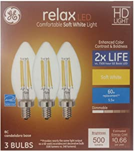 GE Relax 3-Pack 60 W Equivalent Dimmable Soft White B LED Light Fixture Light Bulbs