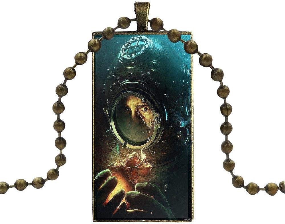 For Men Women Scuba Diving Helmet Underwater Mask Glass Cabochon Pendant Necklace Rectangle Fashion Necklace