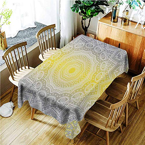 Washable Tablecloth,Grey and Yellow Mandala Ombre Old Boho Pattern with Spiral Round Floral Print,High-end Durable Creative Home,W54x72L,Yellow Grey