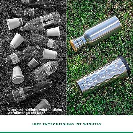 Pure Design Botella Termica 1 Litro Acero Inoxidable Portátil con Tapa de bambú Madera. Botella Agua Deporte 1l Rreutilizable, Sin BPA & Plástico & Logos, 110% Garantia de por Vida