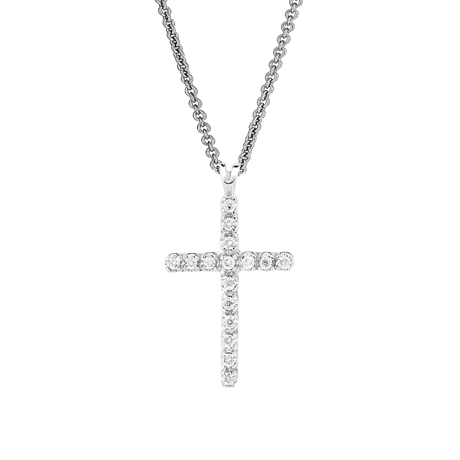Amazon.com  Ritastephens Sterling Silver   Diamond Cross Pendant Necklace  18 Inches 0.05ct  Silver Womens Cross Necklace  Jewelry 47c458d05