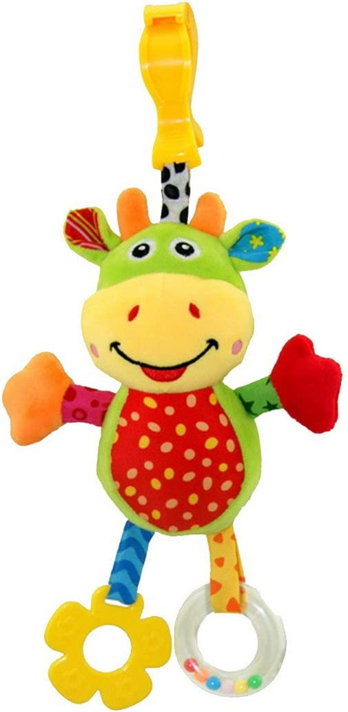 Happy Cherry - Infantil Juguetes Sonajero Colgantes para Bebé Animal Vaca Felpa Peluche de Cochesito Carrito Cuna con Sonido Mordedor para Niños Niñas Arrastrar - Vaca