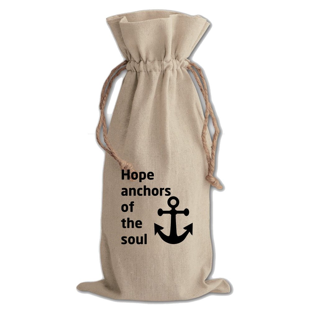 Hope Anchors Of The Soul Cotton Canvas Wine Bag, Cotton Drawstring