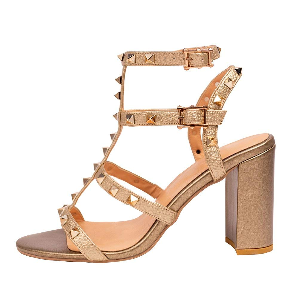 2208 9cm gold Pu gold Rivets Comfity Sandals for Women,Rivets Studded Strappy Block Heels Slingback Gladiator shoes Cut Out Dress Sandals