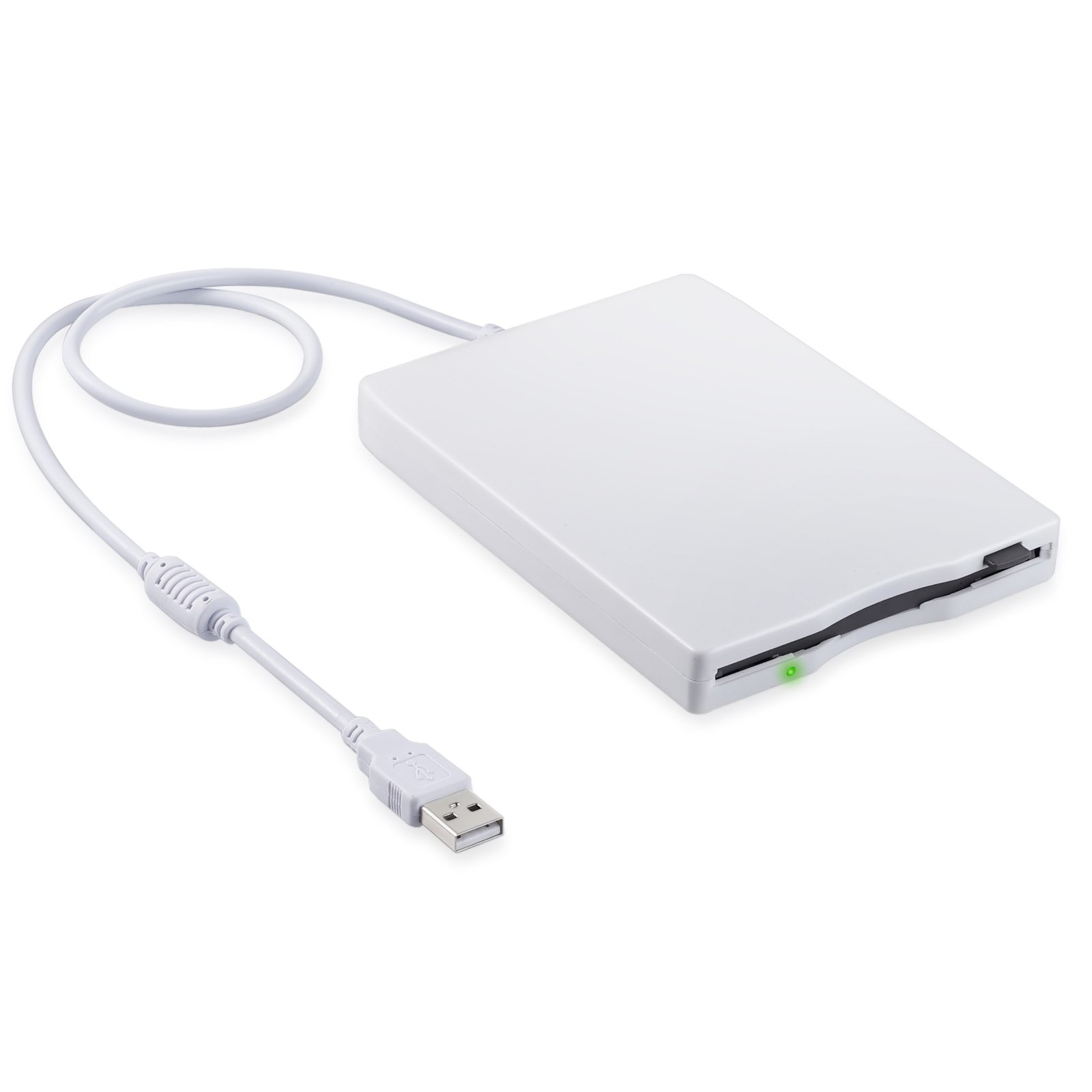 eSynic 3.5'' USB Floppy Drive 1.44 MB FDD Portable External Floppy Disk Drive USB Floppy Drive Reader Plug and Play for PC Windows 10 8 7 Windows 98 2000 Windows XP Vista Mac - White