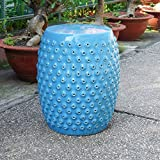 International Caravan Perforated Drum Ceramic Garden Stool - Blue