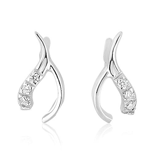 15caa50944ee  Mille Amori Pendientes para Mujer - Oro Blanco 9 Quilates 375 1000 - Diamantes  0.05 Quilates - Florence Collection  Amazon.es  Joyería