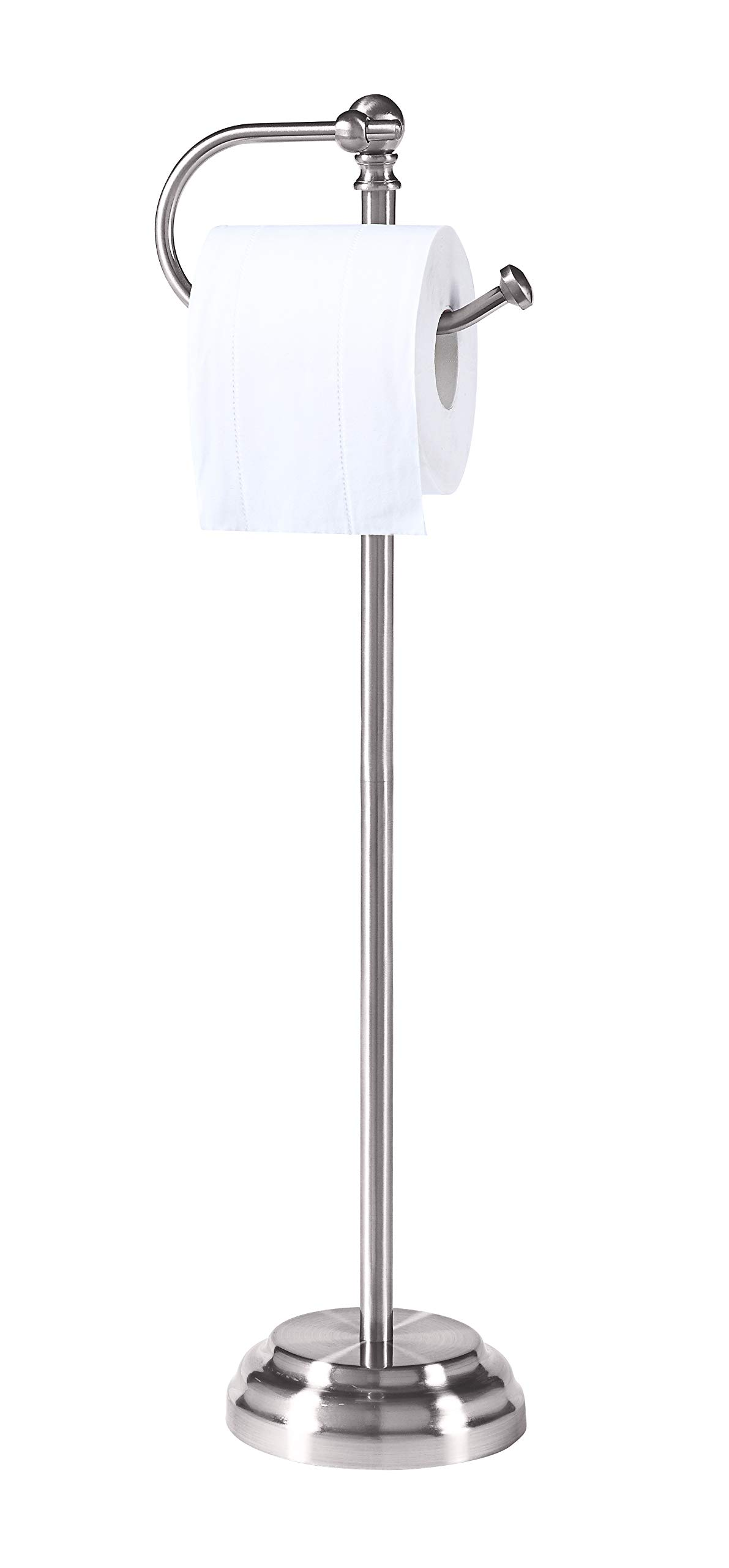 SunnyPoint Classic Bathroom Free Standing Toilet Tissue Paper Roll Holder Stand, Chrome Brush Finish