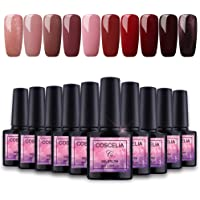 Vernis Gel Semi Permanent Saint-Acior Lot de 10pc Vernis à Ongle Gel Polish Soak Off Manucure Gel LED/UV Vernis Nail Art Ongle 8ml#002