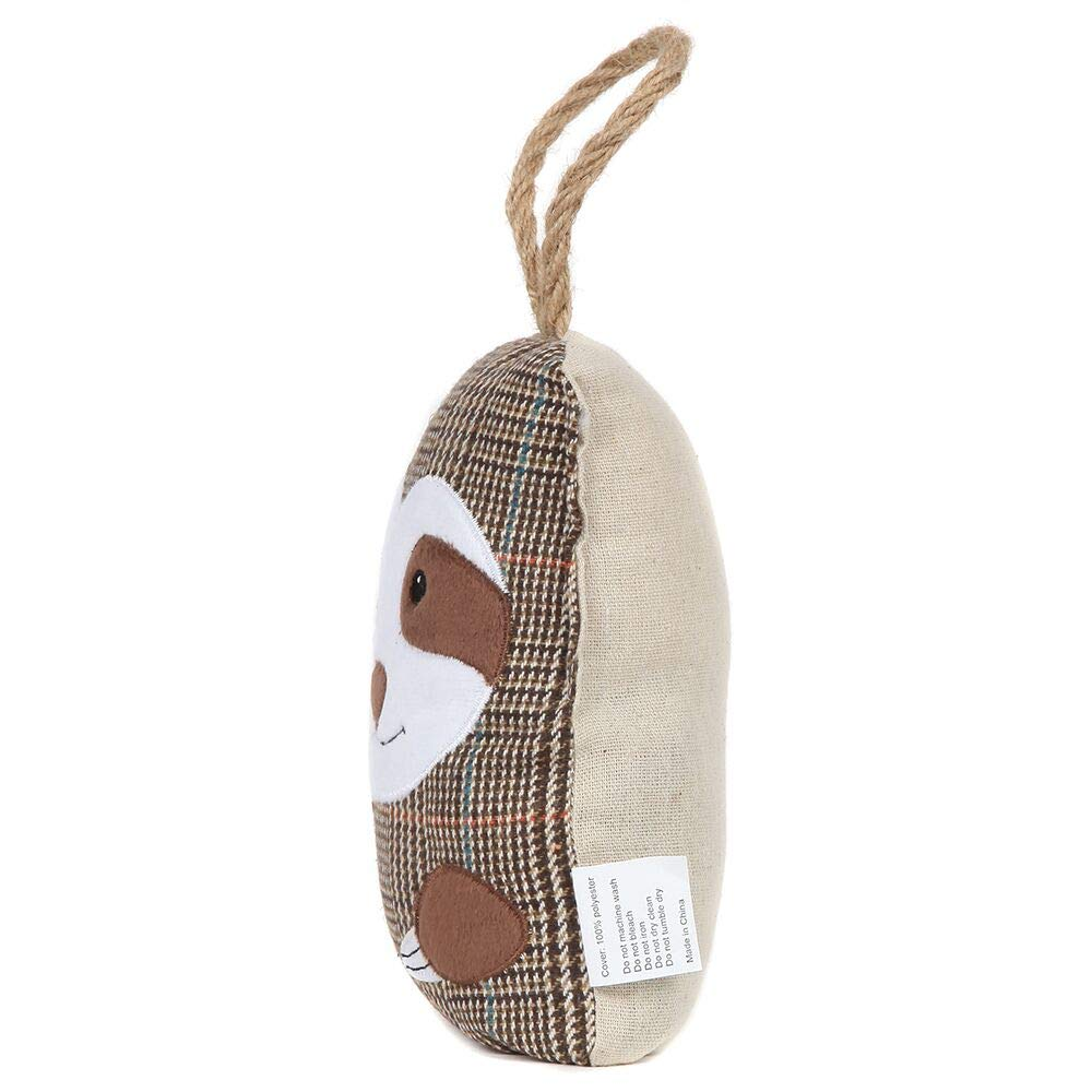 Brown Compact with Patchwork Fabric Design and Hanging Loop Attached Lily/'s Home Cute Decorative Sloth Weighted Interior Door Stopper