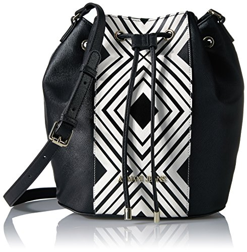 (Armani Jeans London Printed Bucket Bag, Black)