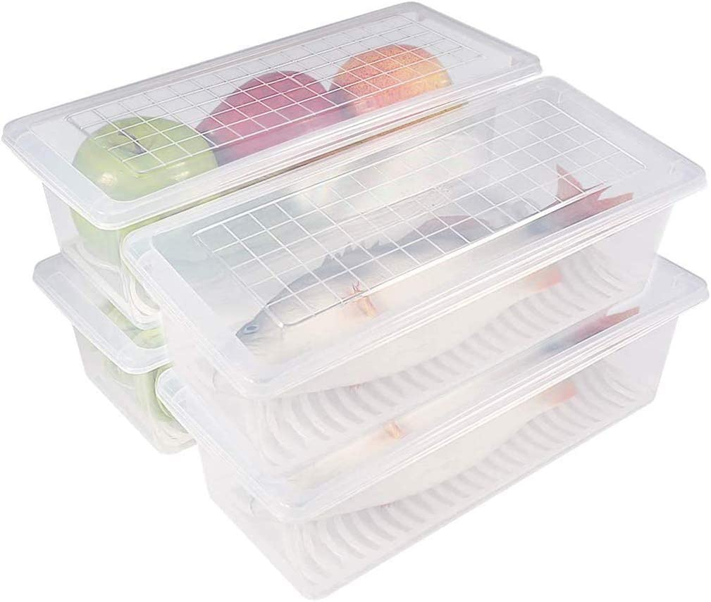 HakGak 4 Pack Fridge Organizer Plastic Food Storage Container Refrigerator Organizer Kitchen Pantry Box with Drainer and Lids for Produce Meat Cereal Fruits Vegetables Fish