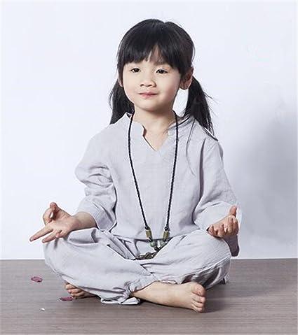 peiwen Los cómodos/algodón y Lino/Yoga Wear/niños Traje de ...