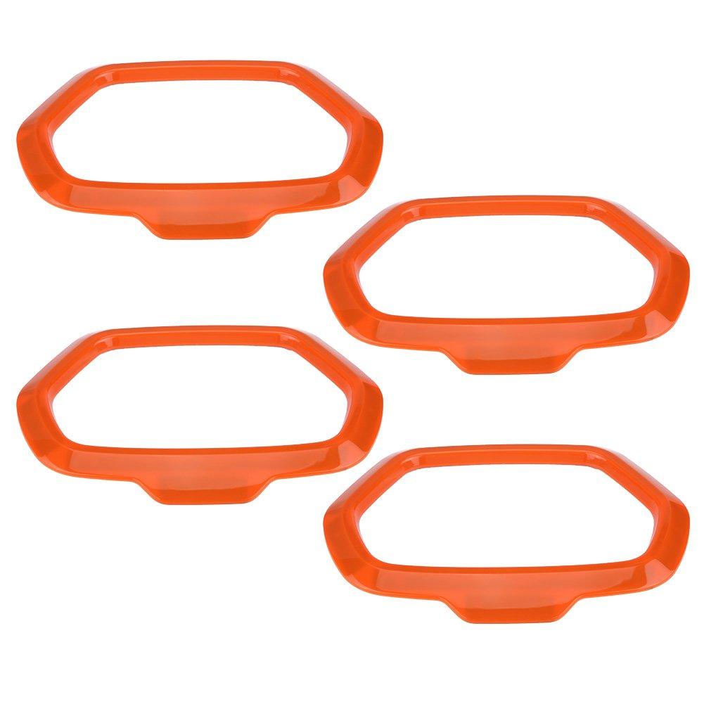 KIMISS 4 pezzi Car Interior Door Sound Speaker Orange Covers Anello Decorazione