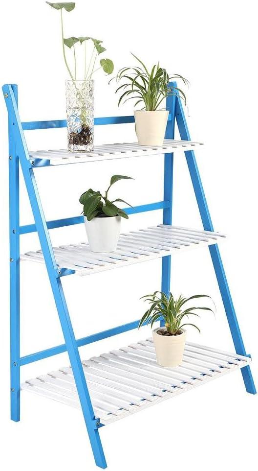 Estantería para flores plegable, escalera para plantas, 3 estantes, estantería de jardín, estantería de almacenamiento, de bambú, escalera para plantas, plegable, decorativa para patio, jardín, balcón, Bleu + blanc: Amazon.es: Jardín