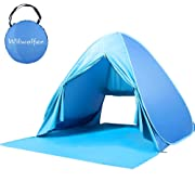 Wilwolfer Pop Up Tent Beach Sun Shelter Portable UV Protection Shade Cabana for Outdoor (Blue)