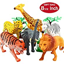 Animal Figure,8 Inch Jumbo Jungle Animal Toy Set(12 Piece),Yeonhatoys Realistic Wild Vinyl Animal For Kids Toddler,Plastic Animal Party Favors Learning Resource Forest Small Farm Animals Toys Playset