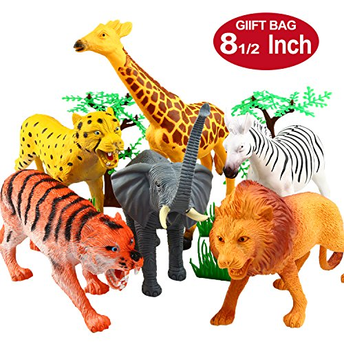 (Animal Figure,8 Inch Jumbo Jungle Animal Toy Set(12 Piece),Yeonha Toys Realistic Wild Vinyl Animal For Kids Toddler Child,Plastic Animal Party Favors Learning Forest Farm Animals Toys Playset)