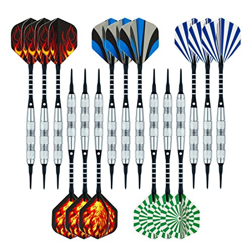 Wolftop 15 Pack Soft Tip Darts 17 Grams with Aluminum Shafts and 5 Style Flights + Extra 60 Pcs Dart...