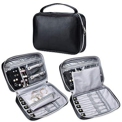 Soleebee Portable Travel Jewelry Organizer Bag Pu Leather