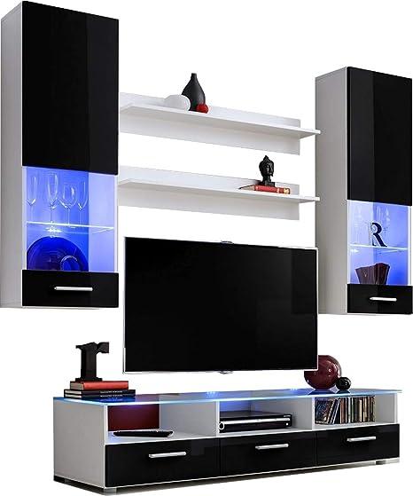 ExtremeFurniture Lead Mueble para TV, Carcasa en Negro Mate/Frente en Negro Alto Brillo + LED Azul: Amazon.es: Hogar