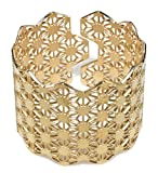 Unisex Gold Plated Adjustable Cuff Bracelet Oriental Bangle Laser Cut Asanoha Geometric Hemp Leaf Pattern