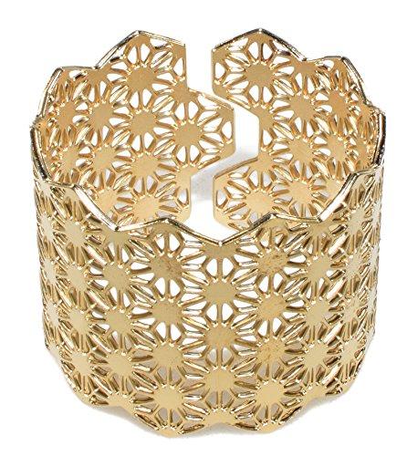 Unisex Gold Plated Adjustable Cuff Bracelet Oriental Bangle Laser Cut Asanoha Geometric Hemp Leaf Pattern by NanoStyle Jewelry