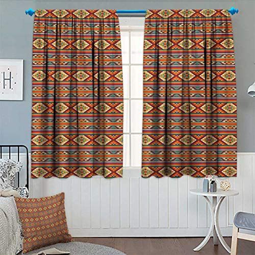 David Wright Wall Graphic - Anhounine Native American,Blackout Curtain,Mosaic Inspired Horizontal Lines with Ethnic Graphic Figures Aztec Design,Waterproof Window Curtain,Multicolor,W72 x L96 inch