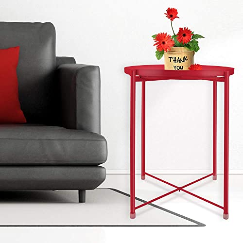 Tray Metal End Table, Sofa Table Small Round Side Tables, Anti-Rust and Waterproof Outdoor Indoor Snack Table, Accent Coffee Table, H 20.28 x D 16.38 Red