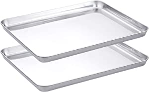 WEZVIX Stainless Steel Baking Sheet Set of 2 Tray Cookie Sheet Toaster Oven Pan Rectangle Size 12.5 x 10 x 1 inch, Non Toxic, Rust Free & Less Stick, Thick & Sturdy, Easy Clean & Dishwasher Safe