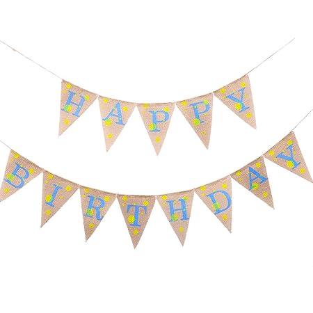BESTOYARD Feliz cumpleaños Banner Dot Banderín Banner ...