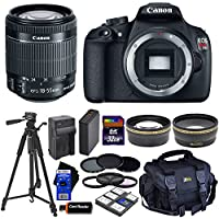 Canon EOS Rebel T5 Digital SLR Camera with EF-S 18-55mm IS II Lens (International Version) + Tele & Wide Lenses + Neutral Density Filters ND2,ND4,ND8 + 14pc 32GB Dlx Accessory Kit Benefits Review Image