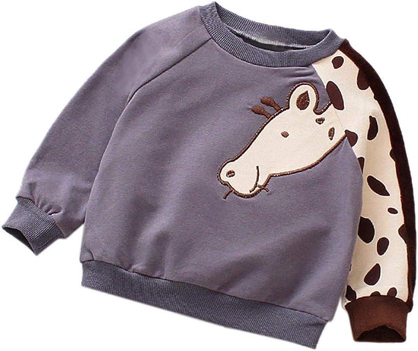 d8ff78a3d5a Toddler Kids Baby Girls Boys Warm Pullover Sweatshirt Cute Long Sleeve Tops  3D Cartoon Animals Crew