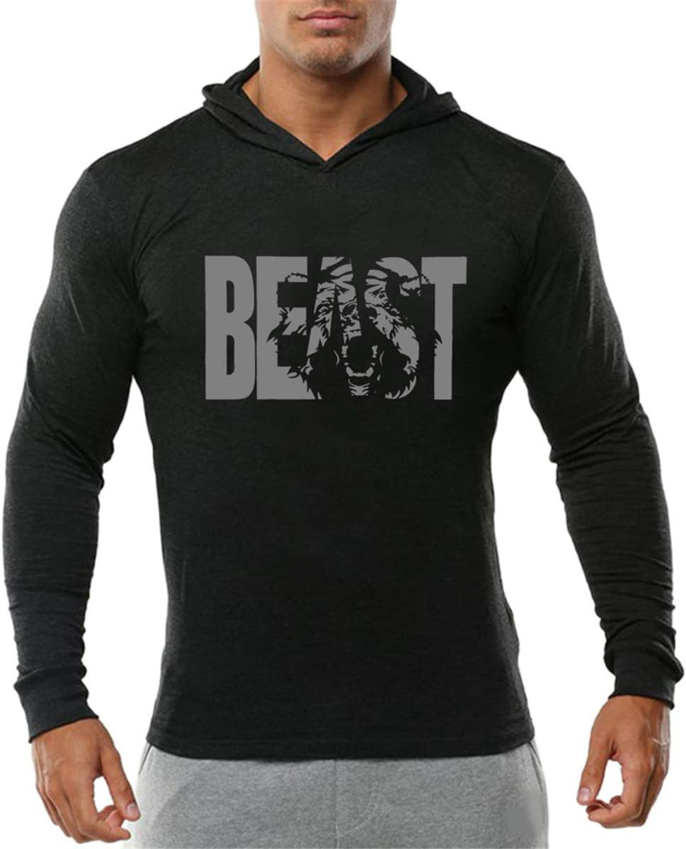 Cabeen Homme Beast Pull /à Capuche L/éger Shirt Manches Longues Pullover Sweatshirt Hoodie