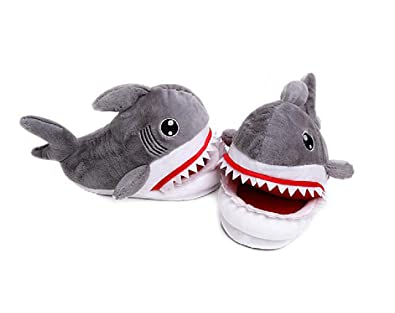 Cartoon Animal Shark Shoes Home Warm Shoes Neutral Soft Plush Home Slippers Gray