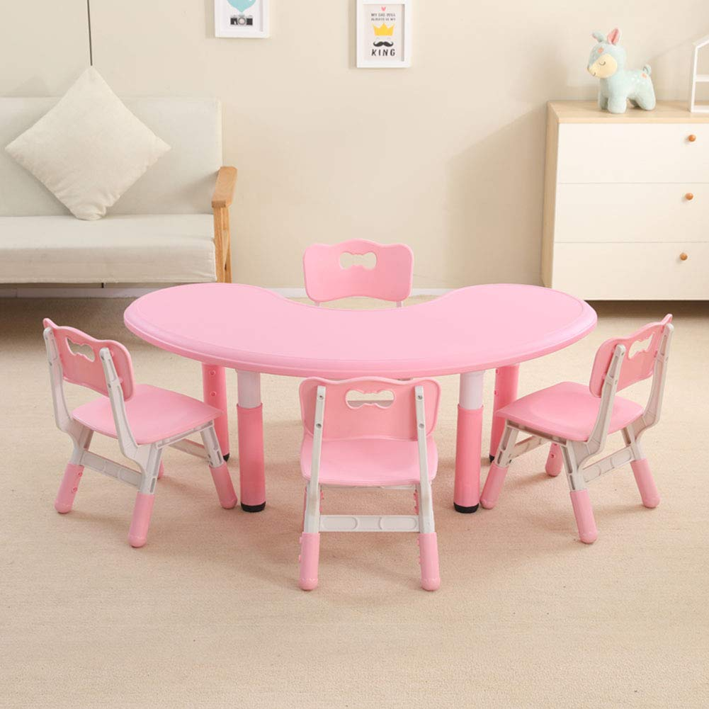 Pink 1 Table + 4 chairs HHXD Toddlers Study Table and Chair, Adjustable Height Plastic Half Moon Table and Ergonomic Chair,Kids Table and Chair Set for Boys and Girls Green   1 Table + 1 Chair